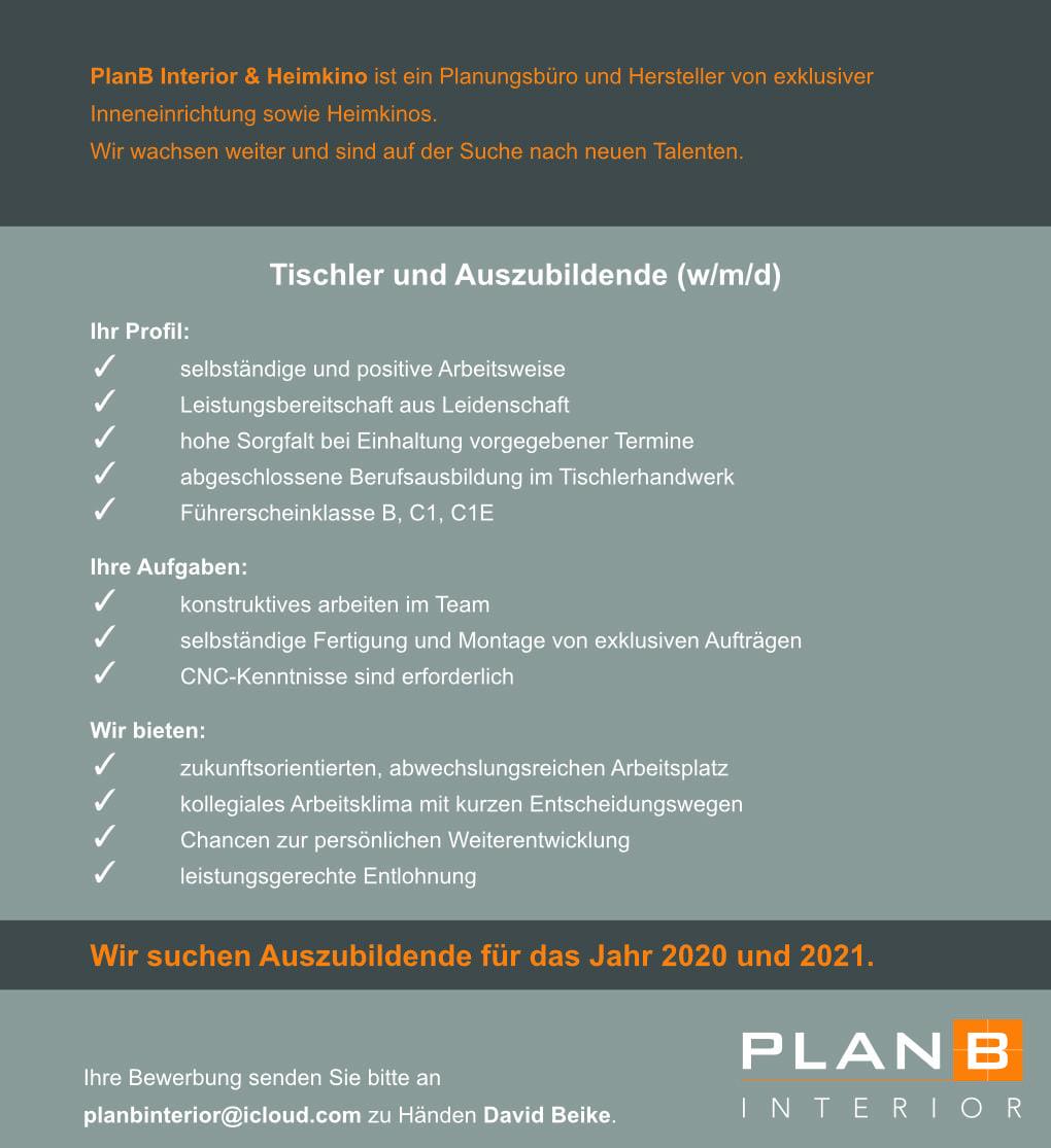 PlanB Stellenanzeige Tischler